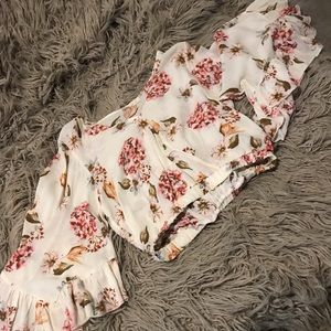 Tops - MILLIBON Floral Cropped Wrap Top